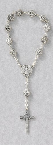 One Decade Finger Rosary with St. Benedict Emblems, Crosses, and Crucifix - MADE IN ITALY