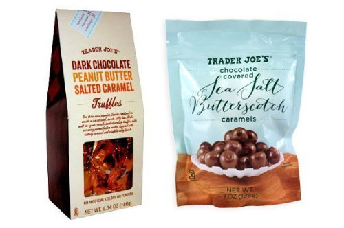 Trader Joe's Chocolate Covered Sea Salt Butterscotch and Dark Chocolate Peanut Butter Salted Caramel Truffles (Trader Joes Truffle Salt compare prices)
