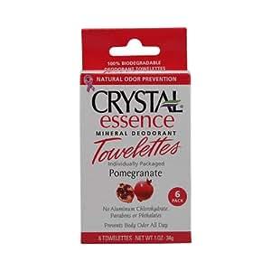 Crystal Essence Mineral Deodorant Towelettes Pomegranate - 6 Towelettes