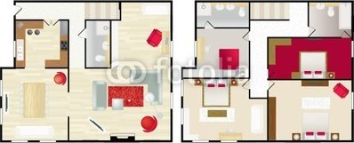 "Wallmonkeys Peel and Stick Wall Decals - Typical Floorplan of S House - 24""W x 10""H Removable Graphic"