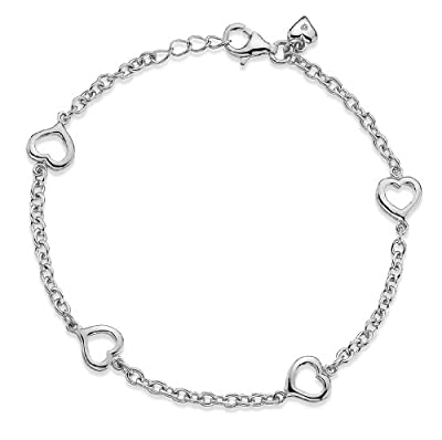 Lily and Lotty Rose Silver and Diamond Heart Link Bracelet of 18cm
