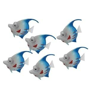 6 Pcs Artificial Blue White Red Plastic Movable Tail Fish for Aquarium