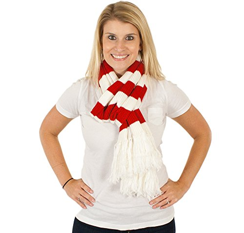 Holiday Scarf - Premium Candy Cane Scarf in Red/White By Festified
