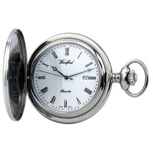 Chrome Plated Quartz Full Hunter Pocket Watch by Woodford