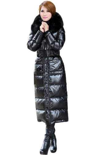 Superbaby Women Long Belted Fuax Fur Hooded High Qulity Down