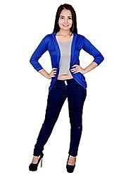 FASHION WING SHORT SHRUG BLUE (Size : L )