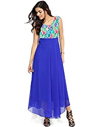 Granth Lifestyle Georgette Solid Bollywood Blue Long Women's Kurti