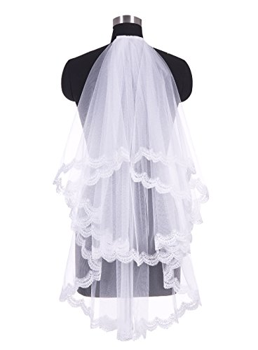 Wedtrend Women's 1 Tier Applique Edge Wedding Accessory Veil with Comb White