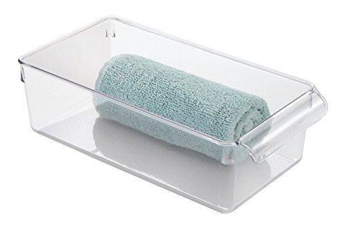 mDesign Bagno Organizzatore, Contenitore per Prodotti di Bellezza e Salute, Asciugamani - Medio, Trasparente