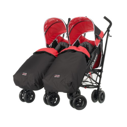Obaby Apollo Twin Pushchair with 2 Footmuffs (Sport Red)