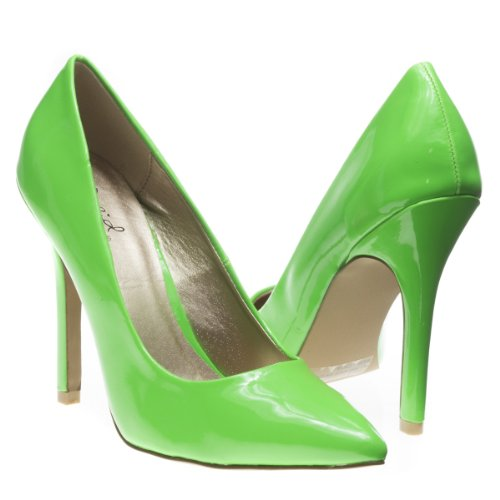 Qupid Women'S Potion01 Pointy Closed Toe Slip On Classic Stiletto High Heel Pump Shoes, Neon Green Patent Leather, 6.5 B (M) Us