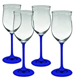 Marquis by Waterford Young Crystal White Set of 4 Wine Glasses - Bottom Color Cobalt Blue - Additional Vibrant Colors Available by TableTop King