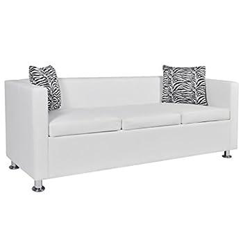 Festnight Modern Faux Leather 3-Seater Sofa for Living Room, White