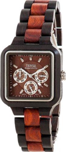 Holzuhr TENSE Mens Summit Premium Herren-Uhr B7305DR - Nat&uumlrliches Sandelholz/Rosenholz B7305DR