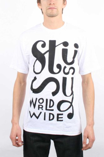 Stussy - Mens Parra Worldwide T-Shirt In White/Black, Size: X-Large, Color: White/Black