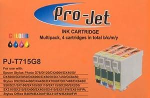 Projet ink set of 4 T0711-4 T0715 Pro-Jet Epson compatible cartridges D92 D120 S20 S21 SX210 SX105 SX110 SX200 SX205 SX215 SX218 SX400 SX405 SX410 SX415 SX510 SX515 SX515W SX600FW SX610FW Office BX300F BX310FN BX600FW BX610FW