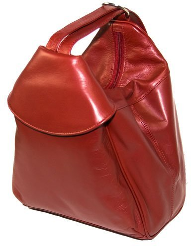 Visconti Leather Rucksack Single Zip Front Pocket 01721, Red
