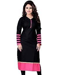 Vatsla Women's Black And Pink Colour Heavy Cotton Kurta(VKR-51002_Black)