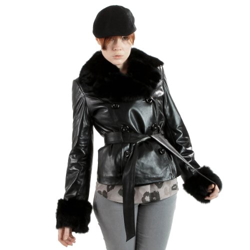 United Face Womens Black Fur Leather Trench Jacket, Black, Small