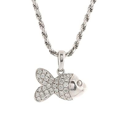 Amazon.com: Chopard 18k Gold Diamond Fish Pendant Necklace