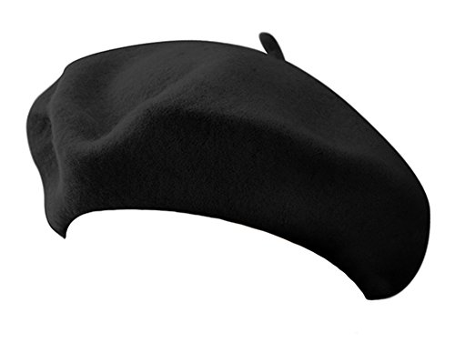 Classic French Artist 100% Wool Beret Hat Black (French Cap compare prices)