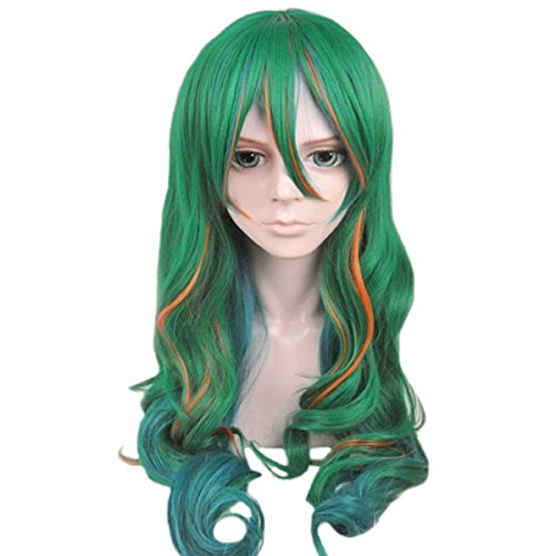 Angelaicos Unisex Two Tone Highlights Wavy Party Costume Cosplay Wigs Long Green