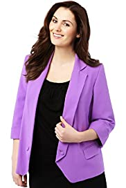Plus Notch Lapel Open Front Button Jacket