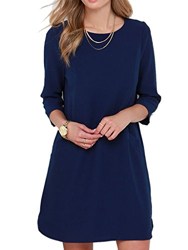 Clothink-Women-Fashion-Back-Keyhole-34-Sleeve-Shift-Dress