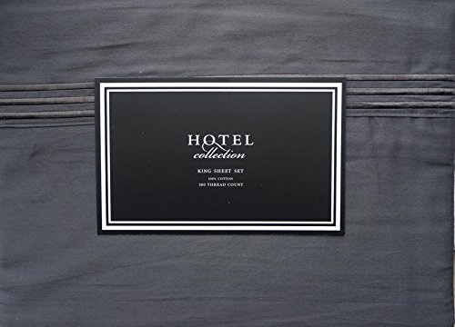 Hotel Collection 4 Piece Cotton King Sheet Set Solid Graphite Gray with 3 Raised Embroidered Stripes Near Cuff (Hotels Near compare prices)
