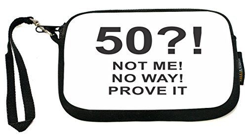 "Rikki Knight LLC discount duty free UKBK ""50 No Way!"" Birthday - Perfect Gift for a 50th Birthday Neoprene Clutch Wristlet with Safety Closure - Ideal case for Camera, Universal Cell Phone Case etc.."