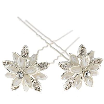 Yantu Womens Flower Bridal Wedding Hair Pin with Crystal (Pack of 20)