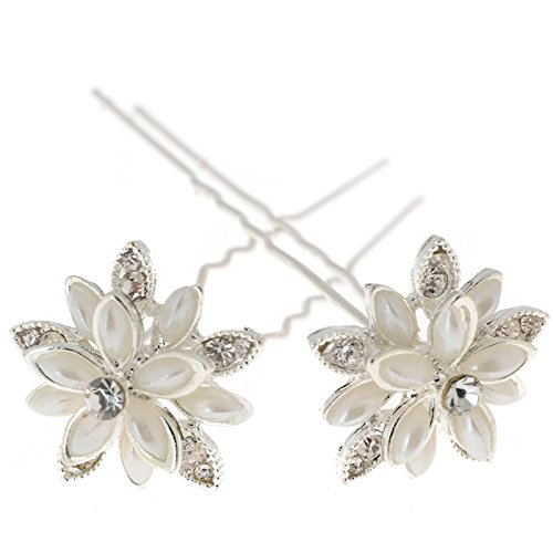 Yantu Womens Flower Bridal Wedding Hair Pin with Crystal (Pack of 20) (big flower 1)
