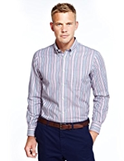 Blue Harbour Pure Cotton Triple Striped Shirt