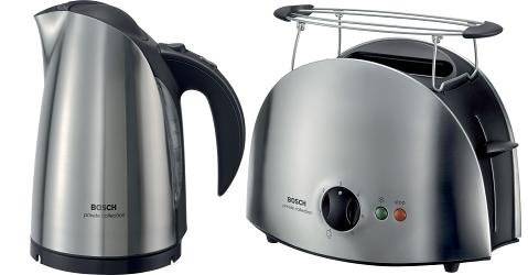 BOSCH PRIVATE COLLECTION 1.7 LITRE JUG KETTLE STAINLESS STEEL (TWK6831)  &  2 SLICE STAINLESS STEEL TOASTER (TAT6901) COMBINATION SET