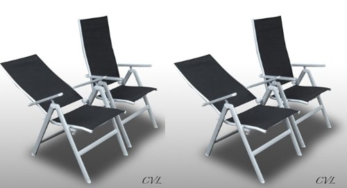 SET 4 GARDEN CHAIRS ALUMINIUM MULTI POSITION RECLINING LOUNGER PATIO FURNITURE