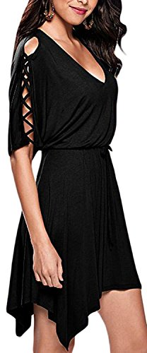 fempool-womens-lace-up-half-sleeves-v-neck-irregular-skater-mini-dress-uk12-14-black