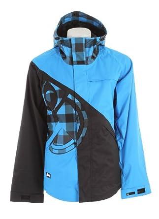 Nomis Diagonal Shell Snowboard Jacket Blue/Black/Bright Blue Box Plaid Sz M