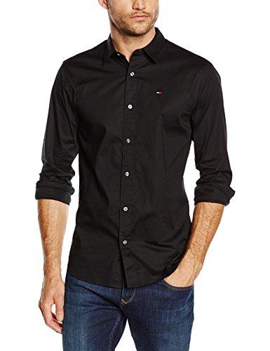 hilfiger-denim-herren-slim-fit-freizeit-hemd-original-stretch-shirt-l-s-schwarz-tommy-black-078-gr-l