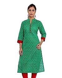 JPF Kurtis Women's Cotton Straight Kurtas(D-01212_42_Green, Green, 42)