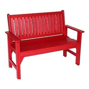 Red Polywood Adirondack Garden Bench Outdoor Benches Patio Lawn Garden