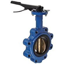 "Dixon BFVL400 Ductile Iron Threaded Lug Style Butterfly Valve with Aluminum Bronze Disc and Buna-N liner, 4"" Size, 200 psi Pressure"