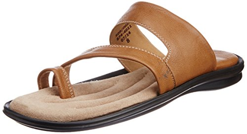 Bata Bata Men's Leather Hawaii Thong Sandals (Brown)
