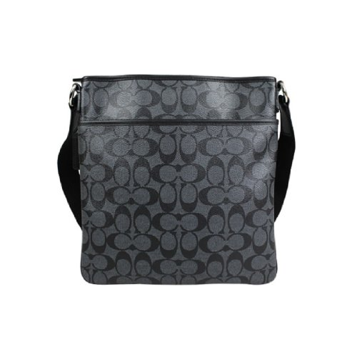 Coach   Coach Mens Signature Heritage Zip Top Crossbody Messenger Bag 71131 Charcoal Black