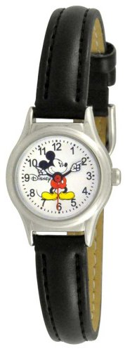 Disney Women's MCK655 Mickey Mouse Moving Arms Black Strap Easy Read Watch