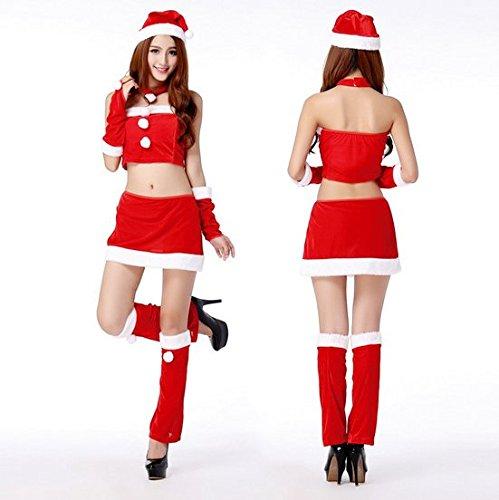 クリスマス セクシー サンタ コスプレ ワンピース 衣装 コスチューム ドレス 6点 セット(おまけ/網タイツ) 06