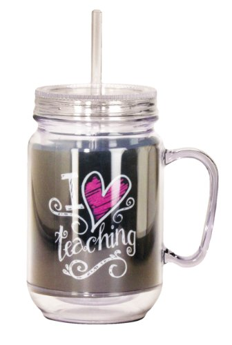 Spoontiques Teacher Mason Jar, Black