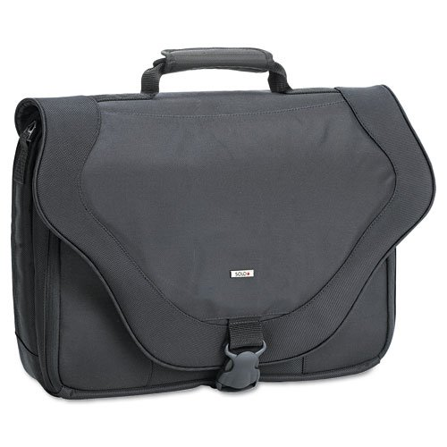 "SOLO Products - SOLO - 17"" Laptop Messenger Bag, PolyTwist, 18 x 13 x 4, Black - Sold As 1 Each - Main padded compartment holds laptops. - Shoulder strap features non-slip pad and is adjustable and removable. - Adjustable speed buckle keeps front flap secure. - Organizer, accessory pockets under front flap. - Ride AlongTM pocket attaches to rolling bags for consolidated travel."