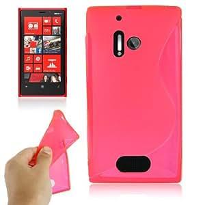Crazy4Gadget S Line Anti-skid Translucent TPU Case for Nokia Lumia 928 (Magenta)