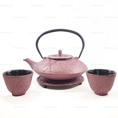 Japan Bargain Raspberry Color Cast Iron Tea Set Bamboo #ts7 06wr