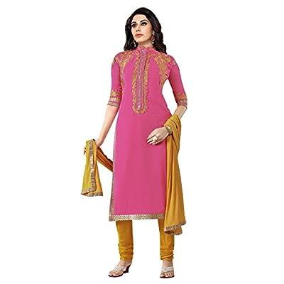 EthnicCrush Women's Georgette Unstitched Embroidered Salwar Kameez(EC3381PRK5611,Pink)
